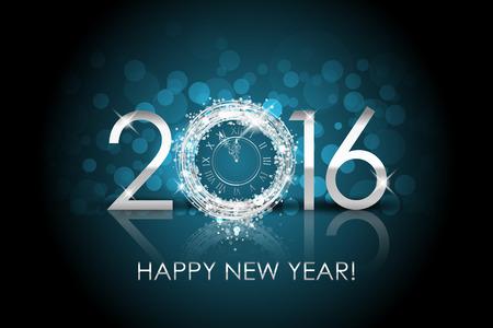 Vector 2016 Happy New Year background with silver clock Foto de archivo