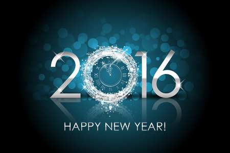 Vector 2016 Happy New Year background with silver clock Banco de Imagens