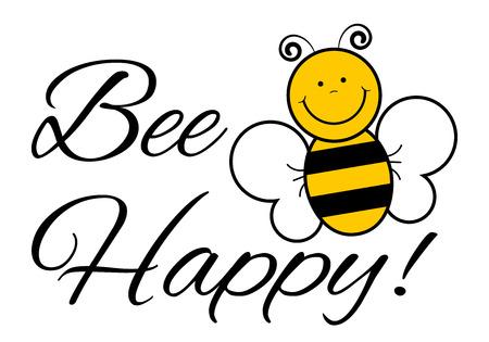 bee: Bee Happy! - Векторная иллюстрация Будьте счастливы Фото со стока