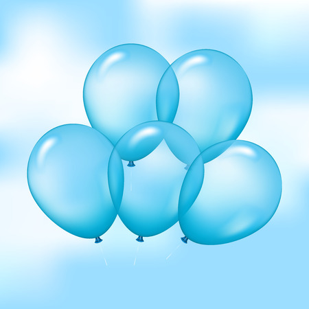 blue sky with clouds: Vector illustration of blue balloons on sky background