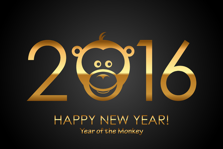 year: Vector 2016 Happy New Year background with monkey Year of monkey Stock Photo