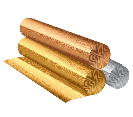 Vector illustration of rolls of color wallpapers Stock Photo