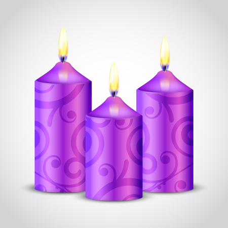 intimacy: Vector illustration of purple candles with floral ornament Stock Photo