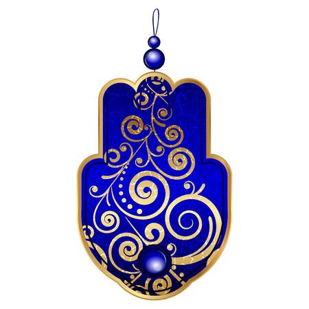 blue eye: Vector illustration of blue hamsa with gems