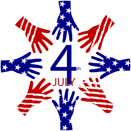 symbol of peace: Vector USA frame - circle of hands