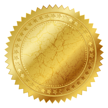 approval icon: Vector illustration of gold seal Stock Photo