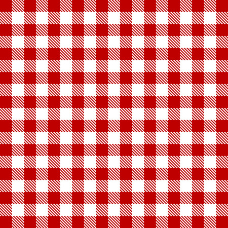 red and white: Vector gingham seamless pattern in red Stock Photo
