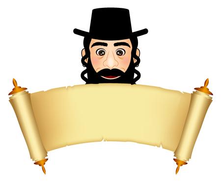 kippah: Vector illustration of orthodox Jewish man holding scroll of the law
