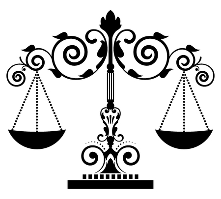 conviction: Vector icon of floral justice scales
