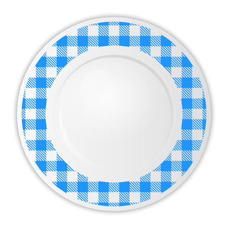 gingham pattern: Vector illustration of plate with blue gingham pattern Stock Photo