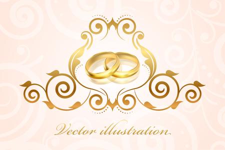 anillos boda: Vectorial de invitación de boda con anillos de oro