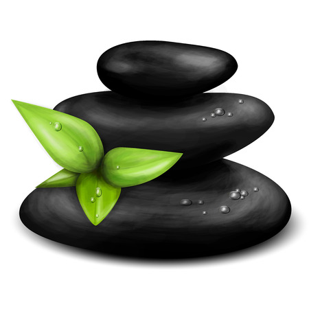 fengshui: Vector realistic illustration of Spa stones