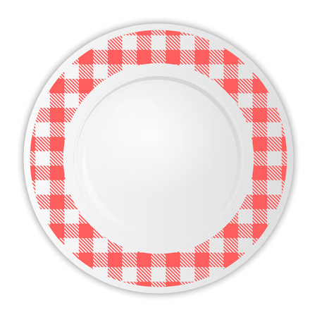 gingham pattern: Vector illustration of plate with red gingham pattern
