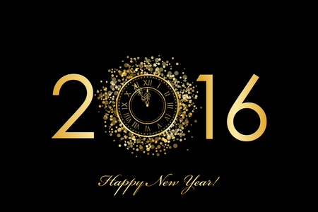 year greetings: Vector 2016 Happy New Year background with gold clock Illustration
