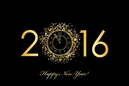 nowy rok: Wektor 2016 Szczęśliwego Nowego Roku złotym tle z zegarem