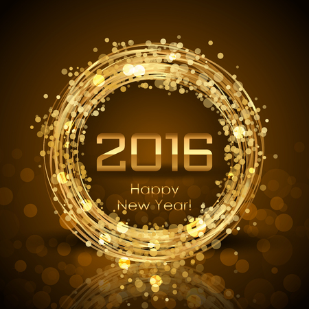 brown background: Vector 2016 Happy New Year glowing brown background