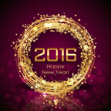 Vector 2016 Frohes Neues Jahr leuchtenden Hintergrund Standard-Bild - 48124473