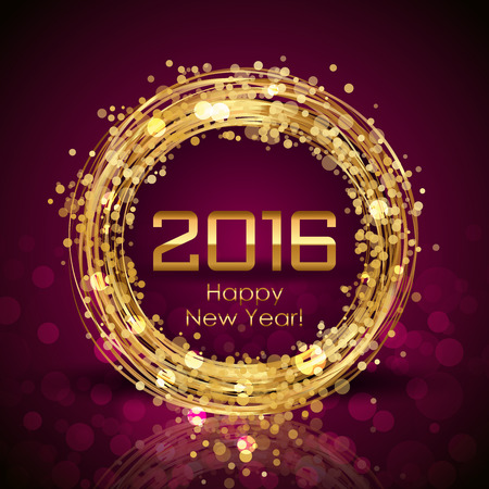 gold: Vector 2016 Happy New Year glowing background Illustration