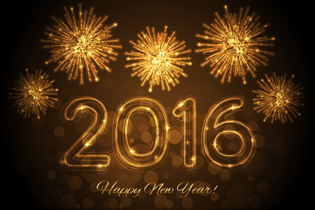 firework: Vector Happy New Year 2016 background with fireworks