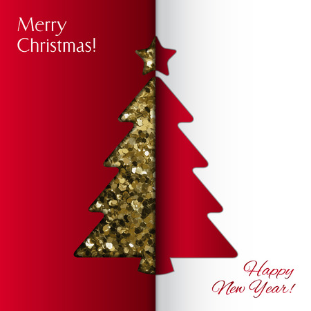 postcard background: Vector Merry Christmas and Happy New Year card Illustration