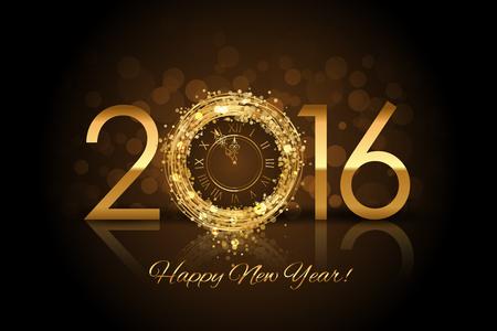금 시계 벡터 2016 행복 한 새 해 배경