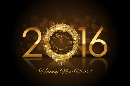 sparkle background: Vector 2016 Happy New Year background with gold clock Illustration