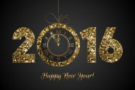 nowy rok: Błyszczące 2016 - Happy New Year - tło z zegarem
