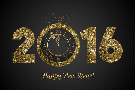 new years eve: Vector shiny 2016 - HAPPY NEW YEAR - background with clock