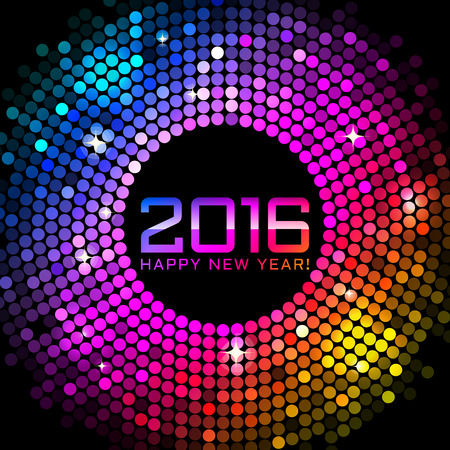 Vector 2016 Happy New Year background with colorful disco lights Ilustração