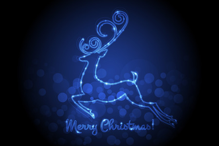 neon light: Vector Merry Christmas card with glowing deer