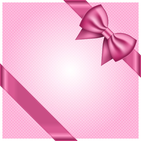 tied girl: Vector pink background with cute bow