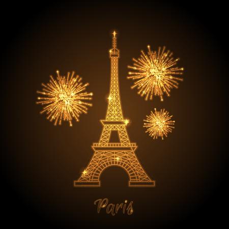 eiffel: Vector illustration of shiny eiffel tower