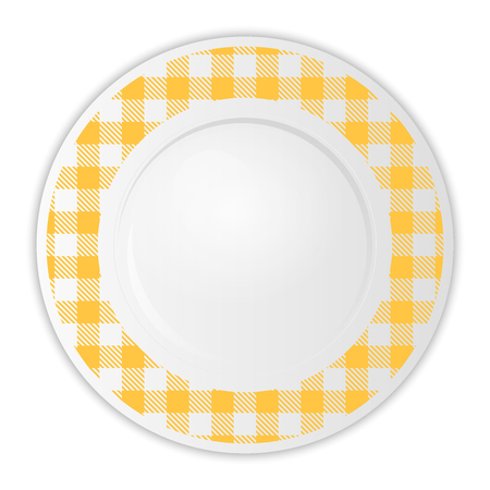 checkered: Vector illustration of plate with yellow gingham pattern Illustration