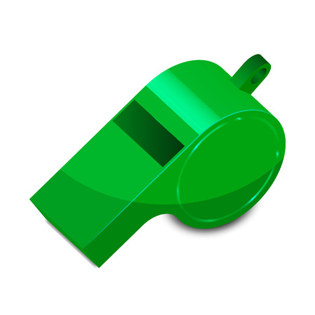 Vector illustration of green whistle