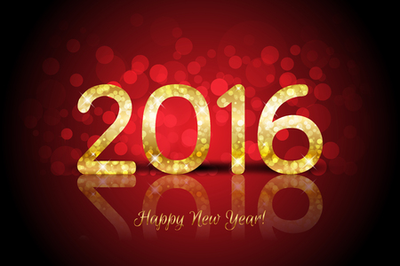 Vector Happy New Year 2016 red background with shiny gold number Illustration