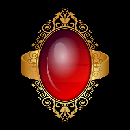 gold ring: Vector illustration of gold ring with big red stone