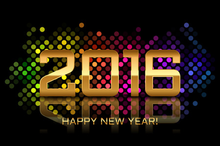 disco lights: Vector - Happy New Year 2016 - colorful disco lights frame