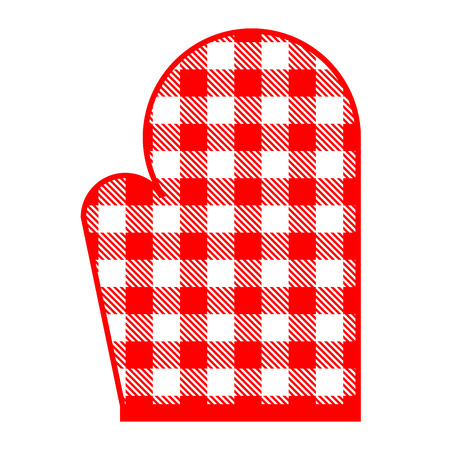 kitchen illustration: Vector illustration of red kitchen glove with gingham pattern Illustration