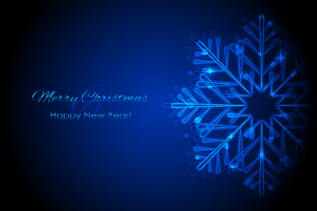 froze: Vector Merry Christmas & Happy New Year card with glowing snowflake