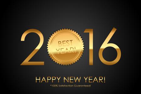 satisfaction guaranteed: Certificate - 2016 Best Year! 100% Satisfaction Guaranteed! - Vector background with gold seal