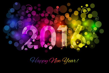 bonne année: Vector Happy New Year - 2016 colorful background