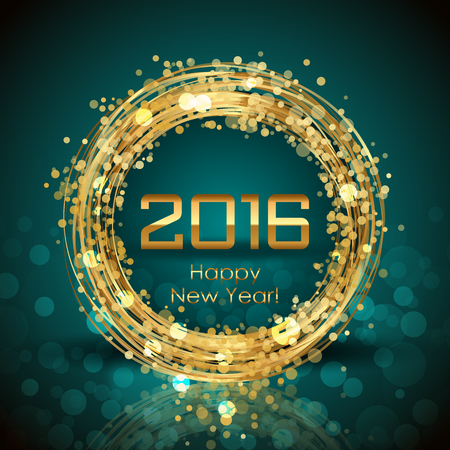 azul turqueza: Vector 2016 Feliz A�o Nuevo fondo brillante
