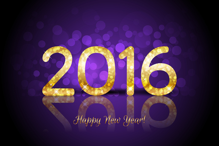 discoball: Vector 2016 Happy New Year purple background Illustration