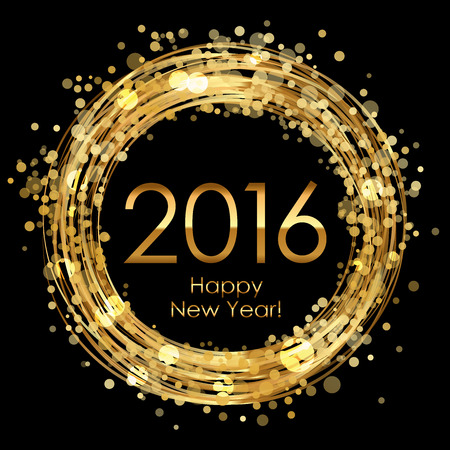 happy  new: Vector 2016 glowing background