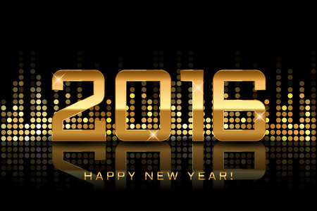 happy new year: Vector - Happy New Year 2016 - gold disco lights frame