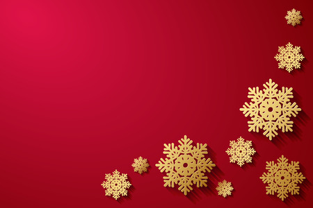 gold snowflakes: Vector red background with gold snowflakes