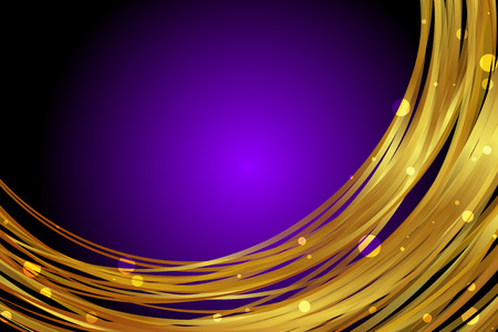 bright light: Vector purple background with gold decoration Illustration