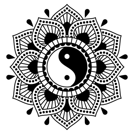 Vector ornament with yin yang symbol