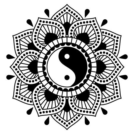 Vector ornament with yin yang symbol