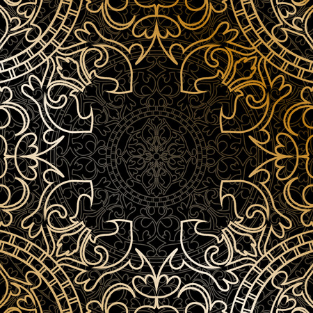 golden texture: Vector oriental frame with gold ornament